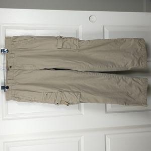 Eddie Bauer Men's tan plaid flannel lined khaki cargo pants size 34